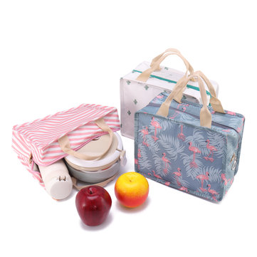 Flamingo Print Handheld Insulation Lunch Bag