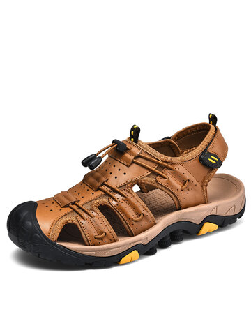 Men Genuine Leather Casual Hiking Sandals