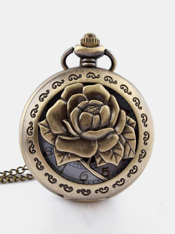 Retro Rose Flower Pocket Watch