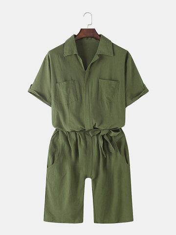 Solid Cotton Belted Jumpsuits