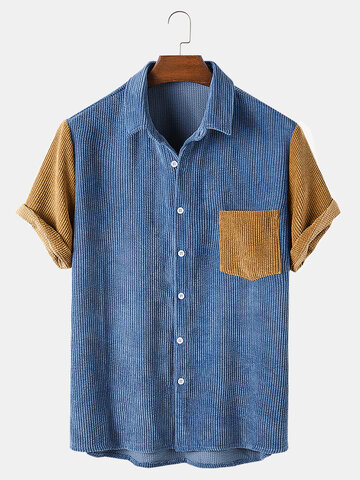 Corduroy Patchwork Casual Shirts