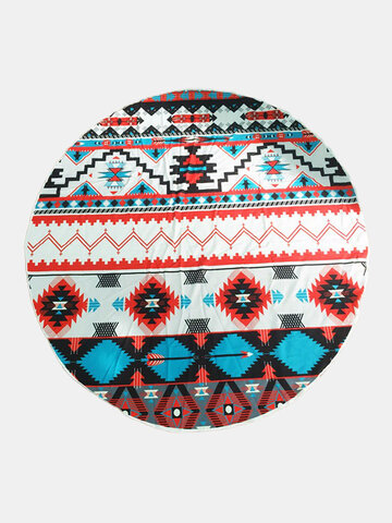 Arrow Striped Print Round Beach Towel Cotton Yoga Mat Table Cloth Tapestry Wall Hanging