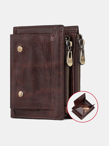 Genuine Leather RFID Removable Photo Case Coin Purse Card Case Wallet