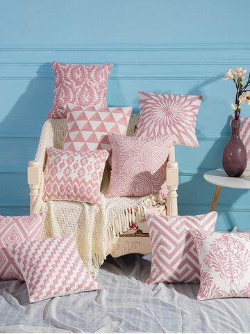 Pink Hand Knitting Pattern Linen Pillow Case