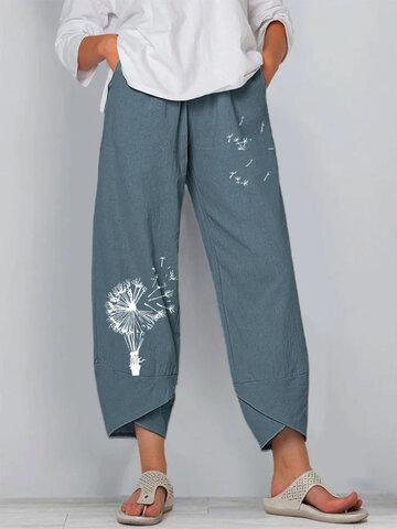 Flower Print Elastic Waist Pants