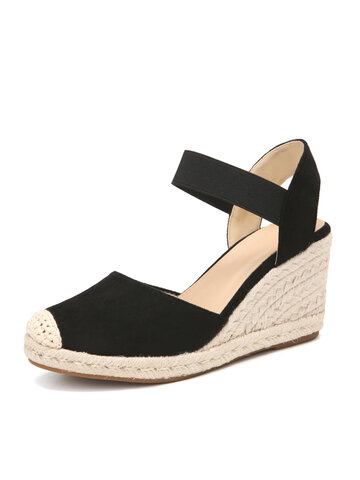 Closed Toe Wide Band Espadrille Wedges Sandals