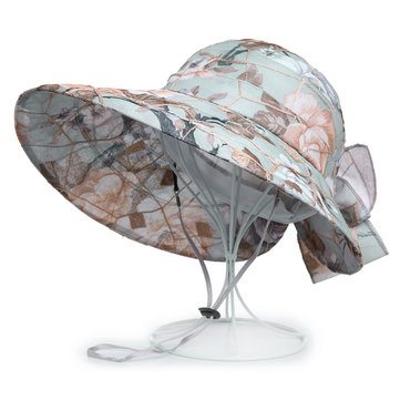 Bow Foldable Summer Print Beach Sun Bucket Hat