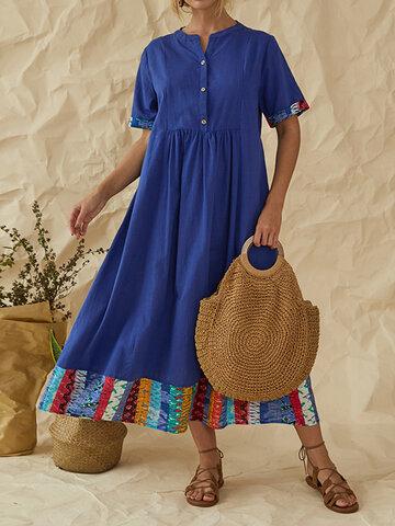 Vintage Patchwork Notch Neck Maxi Dress