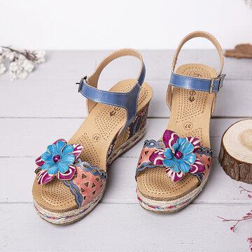 Leather Wedge Sandals Espadrilles