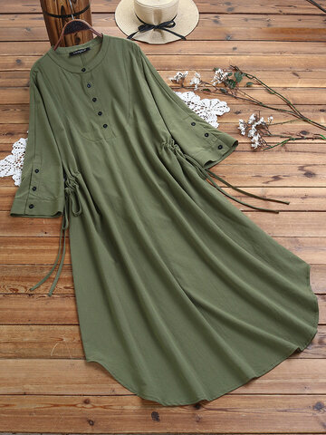 Drawstring Laple Shirt Dress
