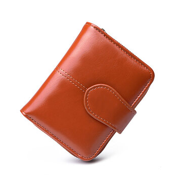 Femmes Oil Wax Leather Short Wallet 4 Porte-cartes Porte-Monnaie