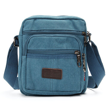 Men Casual Retro Canvas Shoulder Bags Multi-pocket Crossbody Bags