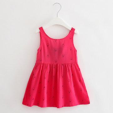 Cute Print Tie Back Sleeveless O-neck Dress For Kids Girls, Navy white pink rose red light blue light pink green floral
