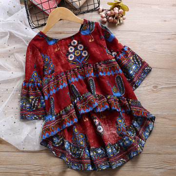 Peacock Pattern Girl Flared Kleid 2Y-11Y