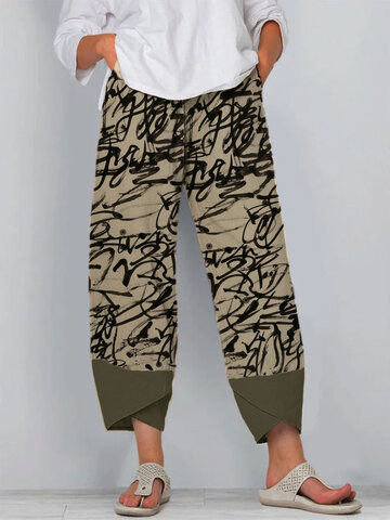 Color Contrast Graffiti Print Pants