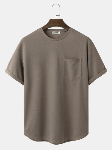 Solid Color Knitted T-Shirt