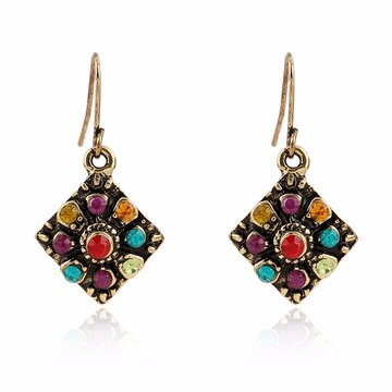 Bohemian Colorful Diamond Orecchio Drop
