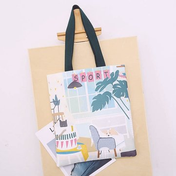 Women Canvas Print Cute Handbag Casual Shoulder Bag