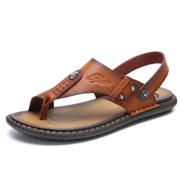 Men Microfiber Leather Slippers Casual Beach Sandals