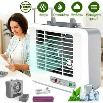 Mini Air Cooler 3 Speed USB Portable Air Conditioner Conditioning Humidifier Purifier Light Desktop Air Cooling Fan Air Cooler Fan for Car Office Home