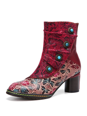 Snakeskin Fold Leather Warm Lined Chunky Heel Boots