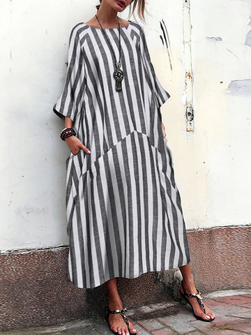 Striped Patchwork Pocets  Maxi Dress