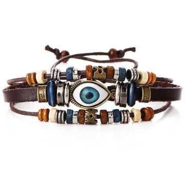 Pulseira Mutilayer Masculina Punk Beaded Eyeball Hand Woven Bracelet