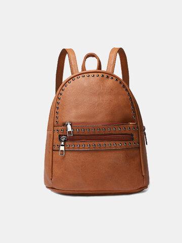 Mulheres Studded Decor Pocket Frente Mini Backpack