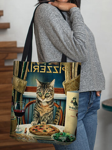 Cat Dinner Pattern Tote