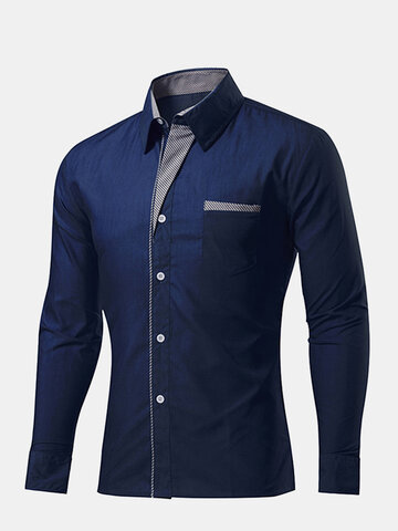 Men's Stripe Decoration Solid Color Slim Dress Shirt, White black red pink army green coffee wine red sky blue navy blue purple khaki