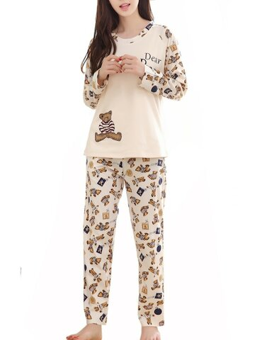 Cute Bear Pattern O Neck Long Sleeve Sweet Pajama Set