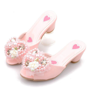 Girls Heart-shaped Pearls Floral Slippers