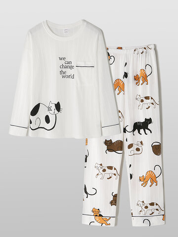 Cotton Ribbed Cartoon Printed Sleepwear