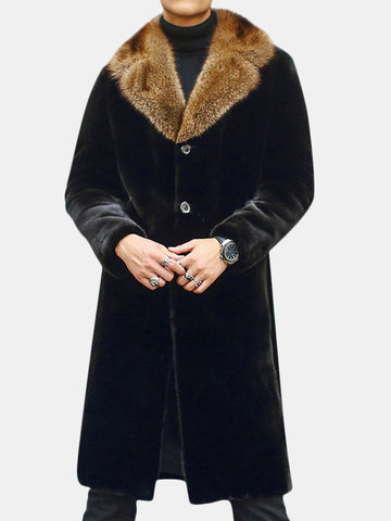 Faux Mink Hair Warm Mid-Length Coat