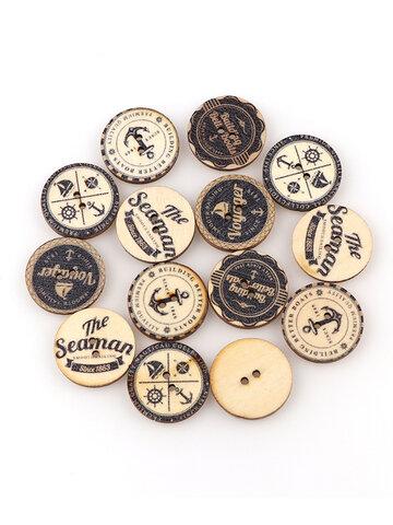 50Pcs Vintage British Style DIY Wooden Buttons