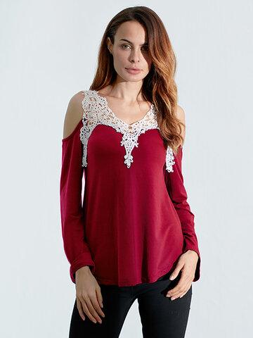 Lace Crochet Off Shoulder T-shirt