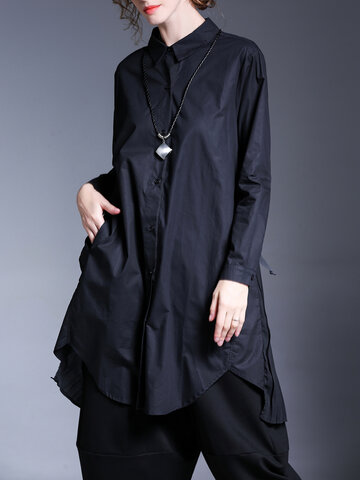 Miting Casual Loose Button Fly Women Long Shirts