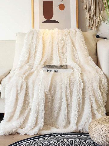 Decorative Extra Soft Faux Fur Blanket Reversible Fuzzy Lightweight Long Hair Shaggy Blanket Fluffy Cozy Plush Fleece Comfy Microfiber Blanket