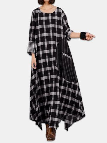 Plaid Big Baggy Maxi Dress