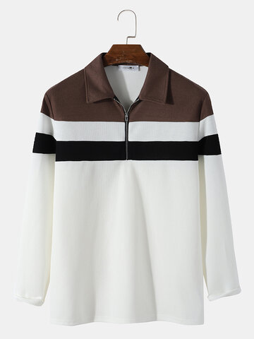 Knitted Colorblock Stitching Golf Shirt