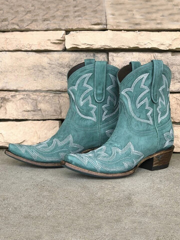 Floral Embroidered Cowboy Boots