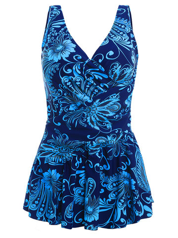 Printed Backless Ruffled Swimdresses