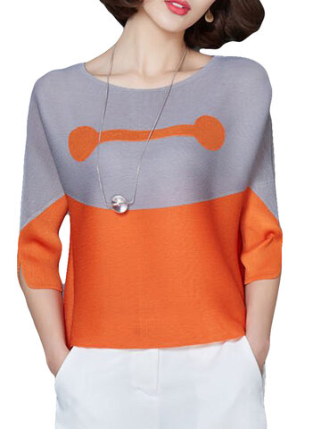 Two-tone Patchwork O-neck Half Sleeve Shirt, Orange