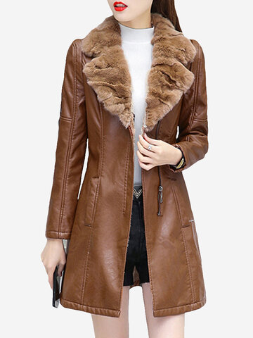 PU Leather Plus Velvet Thick Fur Collar Coat