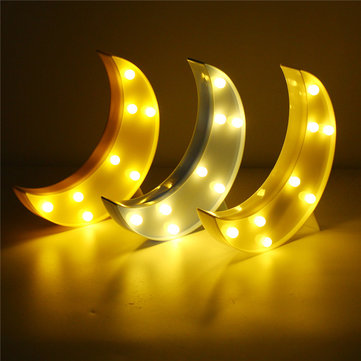 Cute Moon LED Night Light, White yellow