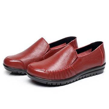 Grande tamanho couro Mocassins confortáveis Soft Casual Women Flat Shoes