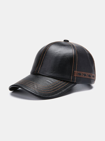Artificial Leather Vintage Baseball Cap With Woven