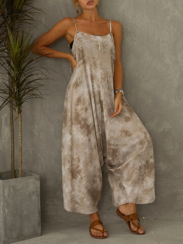 Tie Dye Printed  Spaghetti Straps Loose Jumpsuit For Women