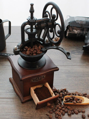 Manual Coffee Bean Grinder Retro Wooden Design Mill Maker