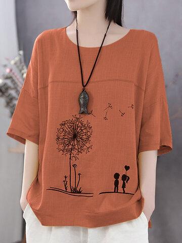 Flower Print Casual T-Shirt